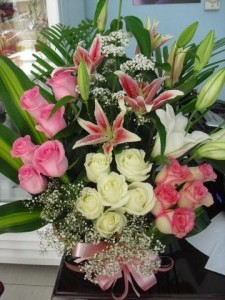 lilies pink white roses