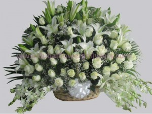 lilies roses orchids basket