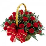 Red Roses Basket of Christmas Flowers