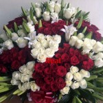 huge basket of fresh lilies roses delivered